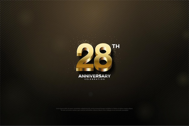 28e verjaardag achtergrond met glinsterende gouden cijfers