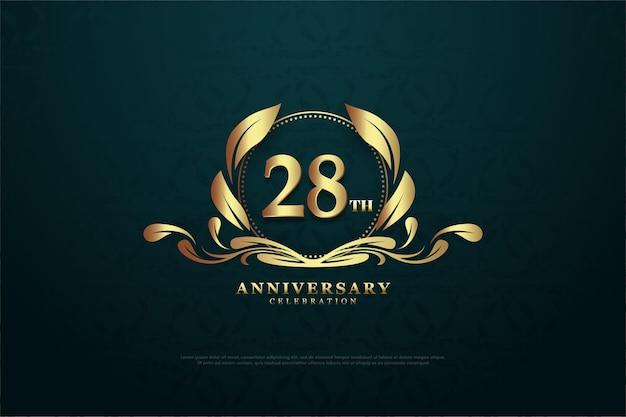 28e verjaardag achtergrond met schattige cijfers