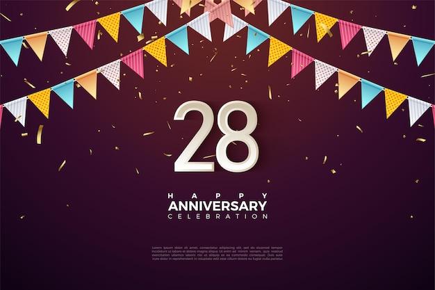 28e verjaardag met nummers onder de rij vlaggen