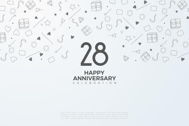 28e verjaardag met zwarte cijfers en miniatuur op witte achtergrond
