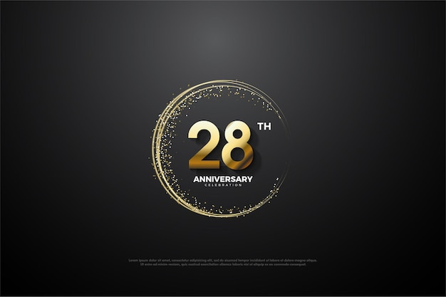 28ste verjaardag achtergrond met nummers en gouden zand rond de nummers