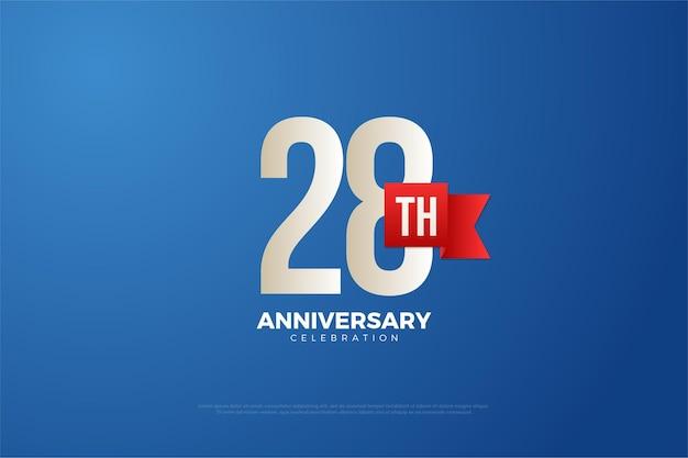 28ste verjaardag achtergrond met rode bandnummers