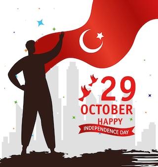 29 oktober republiek dag turkije met persoon en vlagembleem