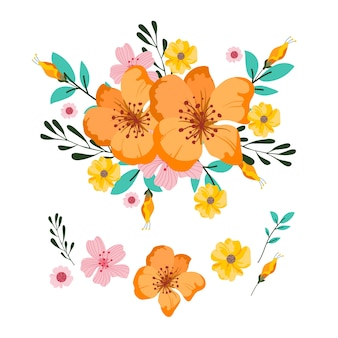 2d bloemen boeket illustratie pack