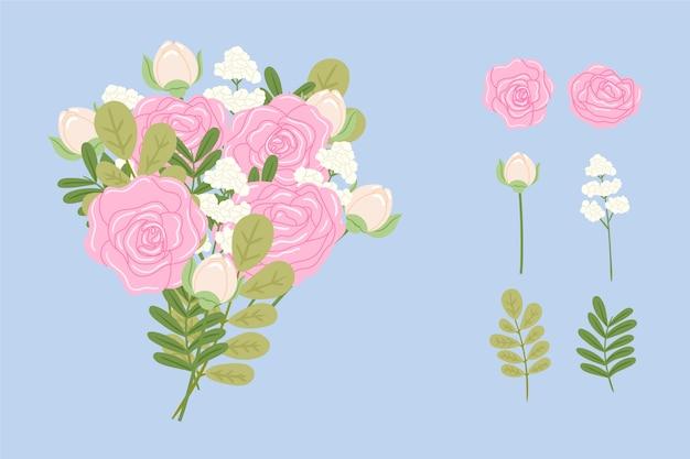 2d bloemenboeket set
