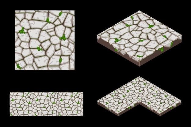 2d en isometrische grond naadloze tegel textuur, kleur grijs.
