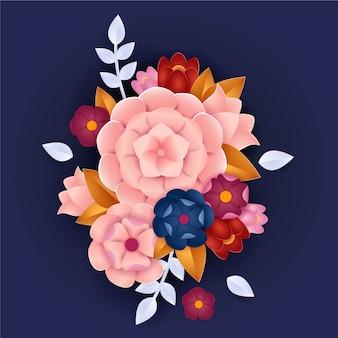 2d gradiënt papier stijl bloemen concept