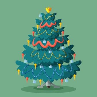 2d kerstboom concept Gratis Vector