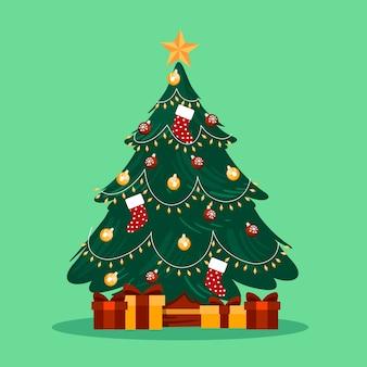 2d kerstboom met ingepakte geschenken