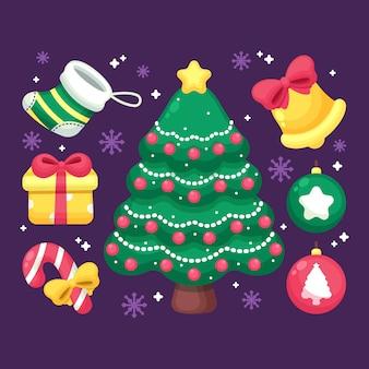 2d kerstboom met ornamenten