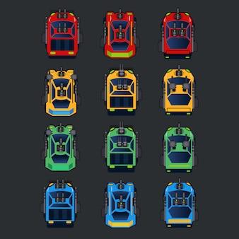 2d top-down auto-game-item, gevechtsauto voor schietspel