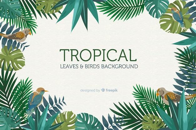 2d tropische bladeren en vogelsachtergrond