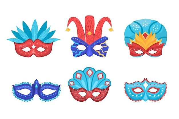 2d venetiaanse carnaval maskers set
