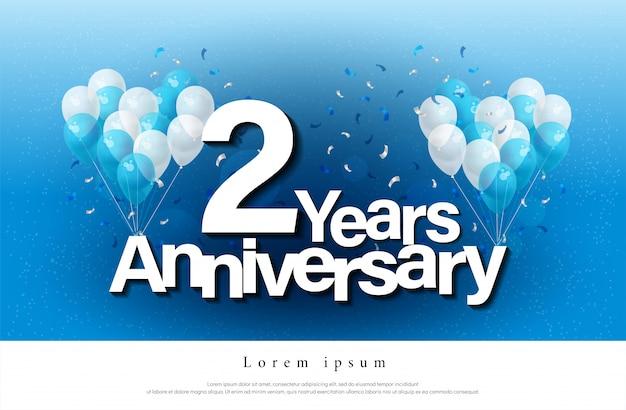 2de jaar verjaardag wenskaart belettering