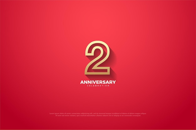 2de verjaardag met gouden geschetste nummerillustratie op rode achtergrond.