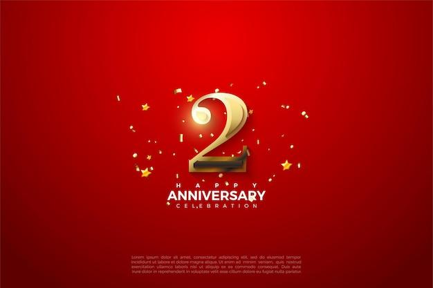 2de verjaardag met sprankelende gouden cijfers illustratie op een opvallende rode achtergrond.