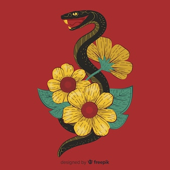 2e slang met bloemen