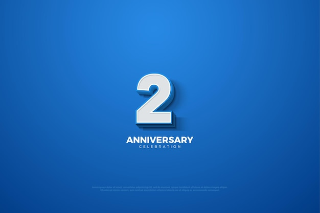 2e verjaardag achtergrond met reliëf driedimensionaal nummer