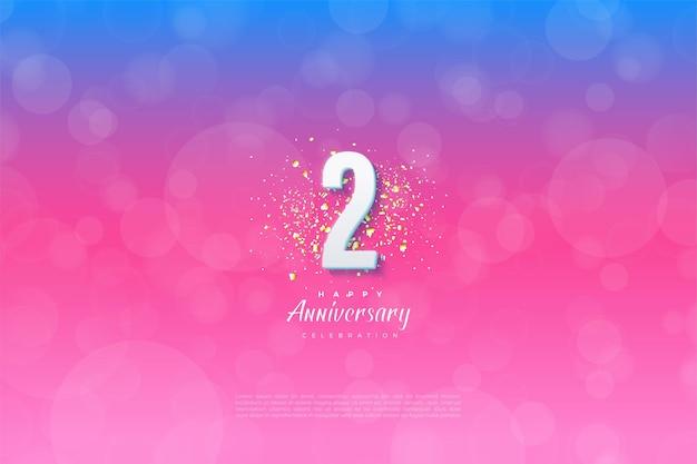 2e verjaardag met cijfers en glitter op een gesorteerde achtergrond.