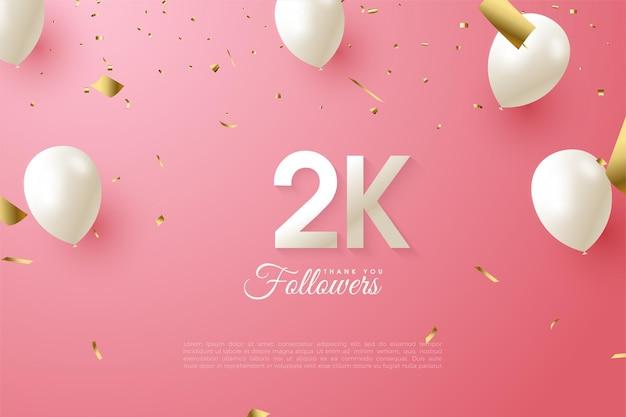 2k volgers met cijfers en witte ballonnen