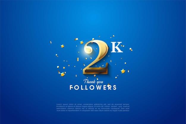 2k volgers met gouden cijfers op blauwe achtergrond