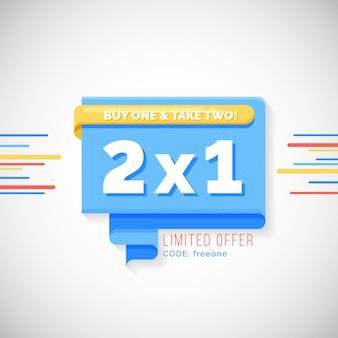 2x1 promotie banner concept