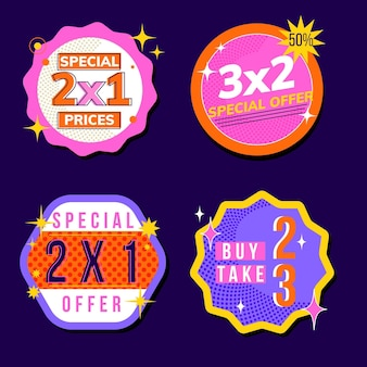 2x1 promotie labels-collectie Gratis Vector