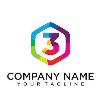 3 brief logo pictogram zeshoek ontwerpsjabloon element