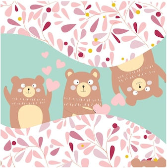 3 domme teddyberen piekeren, voor verjaardagskaart