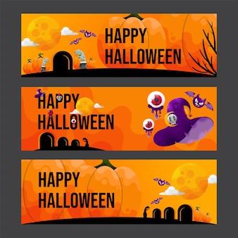 3 enge halloween banners illustraion