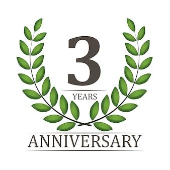 3 jaar verjaardag sjabloon met rood lint en lauwerkrans