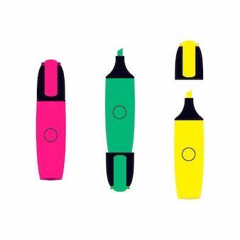 3 klassieke markers met markeerstift effect geïsoleerd op een witte achtergrond set