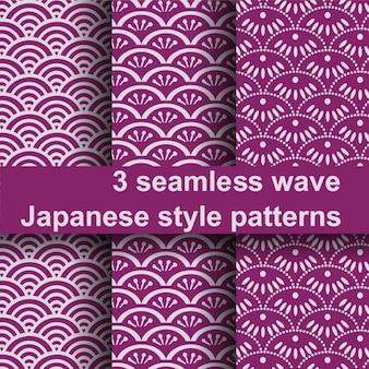 3 naadloze golf japanse stijl patroon.
