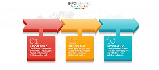 3 stap van tijdlijninfographicsontwerp