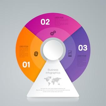 3 stappen bedrijfs infographic elementen voor de presentatie