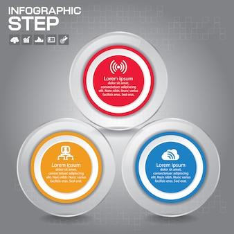 3 stappen infographic design elements