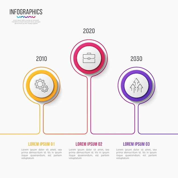 3 stappen infographic ontwerp, tijdlijngrafiek