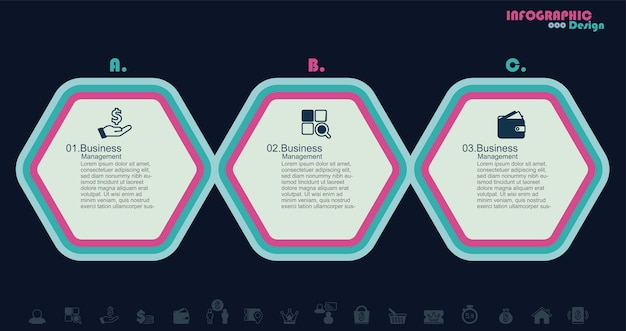 3 stappen infographics stock illustratie infographic hexagon vector stock illustratie