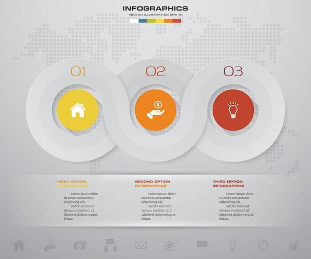 3 stappen tijdlijn voor uw presentatie.