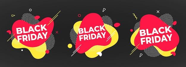 3 zwarte vrijdag poster of banner ontwerp sjabloon vectorillustratie