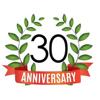 30 jaar verjaardag sjabloon met rood lint en lauwerkrans