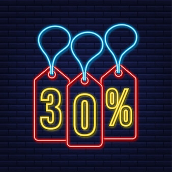30 procent korting verkoop korting neon tag kortingsaanbieding prijskaartje 30 procent kortingspromotie