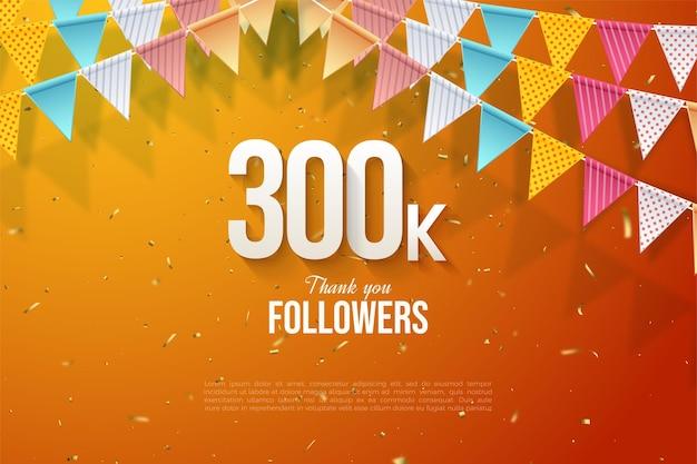 300.000 volgers met cijfers en vlaggen illustratie op oranje achtergrond.