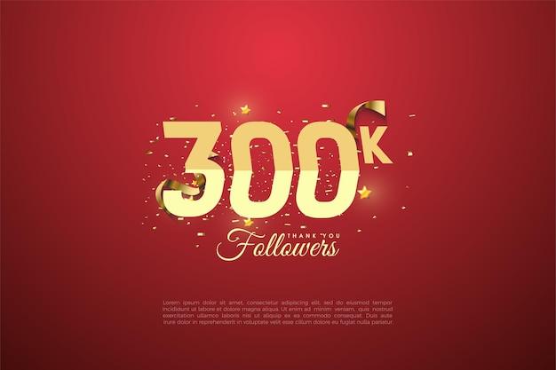 300.000 volgers met getallen en geschenkdoos illustratie.