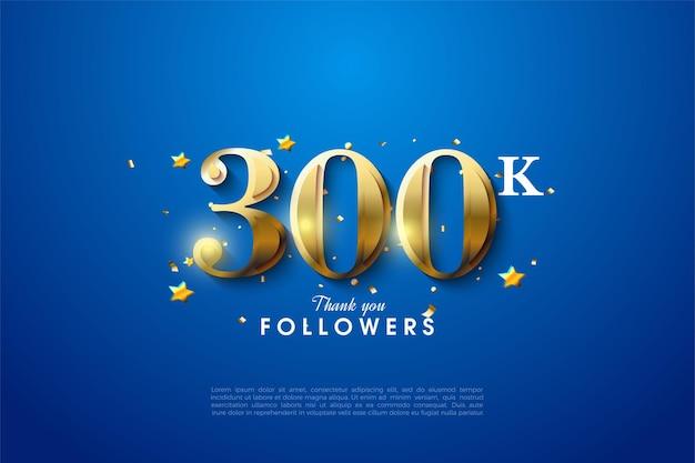300k volgers met glinsterende gouden cijfers op blauwe achtergrond.