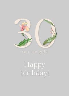 30e verjaardagswenssjabloon met illustratie van bloemennummer