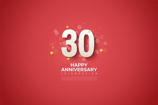 30ste verjaardag achtergrond met witte cijfers illustratie op heldere rode achtergrond