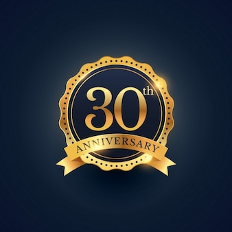 30ste verjaardag badge viering etiket in gouden kleur