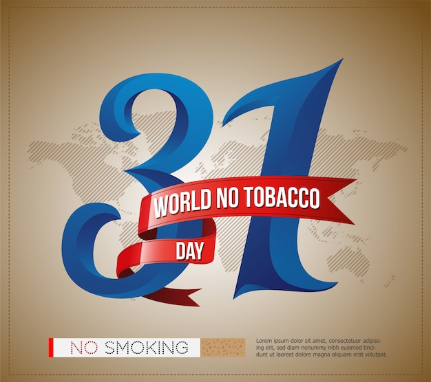 31 mei werelddag zonder tabaksdag, poster, spandoek met stijlvolle tekst en wereldkaart