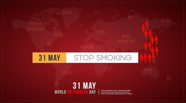 31 mei world no tobacco day concept stoppen met roken en wereldkaartachtergrond